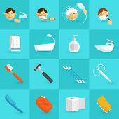 foto of personal hygiene  - Personal hygiene icons flat set with bathroom cosmetics isolated vector illustration - JPG