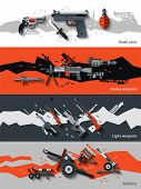 image of artillery  - Weapon horizontal banners set with small arms heavy light artillery elements isolated vector illustration - JPG