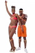 pic of samba  - Full length of samba dancers isolated on white - JPG
