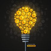 stock photo of lightbulb  - Light Bulb with Gears Pattern and Business Icons Background - JPG