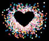 image of confetti  - Vector heart shaped confetti falling down - JPG