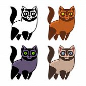 Постер, плакат: Set of Cartoon Kitties or Cats Vector