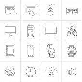 stock photo of outline  - Gadgets linear icon set - JPG