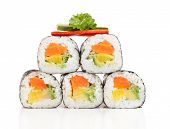 foto of food pyramid  - Various kinds of sushi food served on white background - JPG