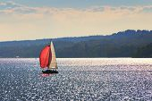 foto of bavaria  - Image of a sailboat on the lake Starnberg in Bavaria Germany - JPG