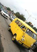 pic of camper-van  - a classic yellow van is going on the road - JPG