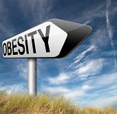 image of obese  - obesity and over weight or obese people suffer eating disorder and can be helped by dieting road sign  - JPG