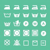 Постер, плакат: Set of washing symbols Washing instruction symbols white
