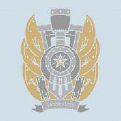 foto of locomotive  - locomotive emblem for printing - JPG