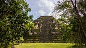 picture of mayan  - View of Mayan historic building at Tikal Jungle - JPG