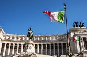 stock photo of altar  - italian flag and detail of the Fatherland Altar in Rome - JPG