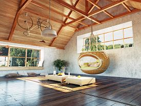 picture of rafters  - beautiful modern attic interior with hanging sofa - JPG