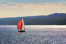 pic of bavaria  - Image of a sailboat on the lake Starnberg in Bavaria Germany - JPG