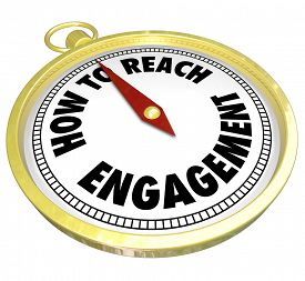 picture of clientele  - How to Reach Engagement words on a gold compass directing or guiding you to greater involvement - JPG