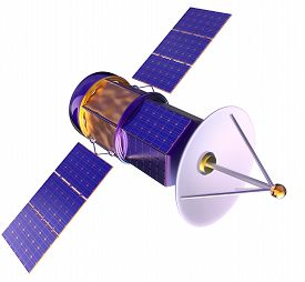 stock photo of antenna  - 3D model of an artificial satellite of the Earth - JPG