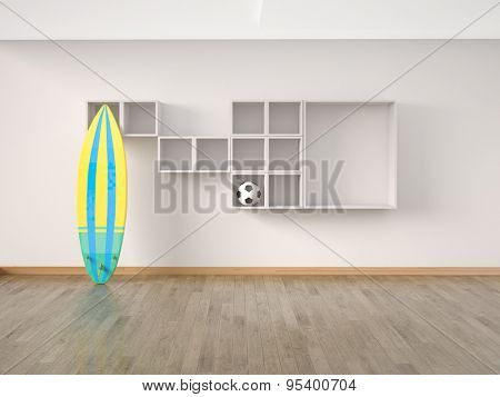 Interior modern room, wooden floor with surf board an soccer ball. 3D illustration