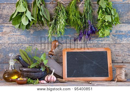 Message board and various fresh herbs hanging on a leash