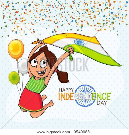 Cute little girl holding national flag and jumping high on tricolor balloons decorated background for Indian Independence Day celebration.
