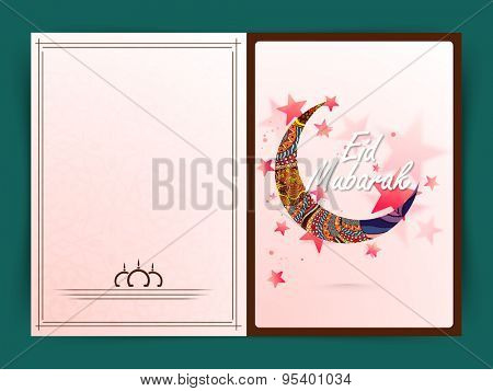 Muslim community festival, Eid Mubarak celebration greeting card with traditional floral design decorated crescent moon on stars decorated background.