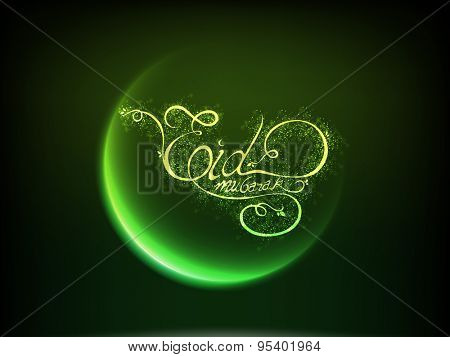 Beautiful shiny green crescent moon with glowing wishing text Eid Mubarak, Creative greeting card design for Muslim community festival, celebration.