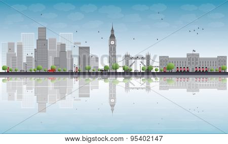 London skyline with skyscrapers and clouds