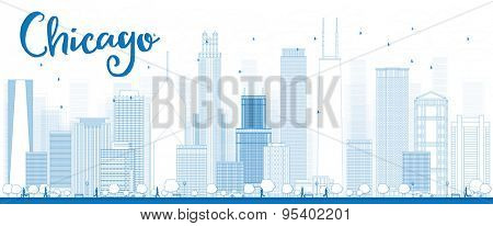 Outline Chicago city skyline with blue skyscrapers