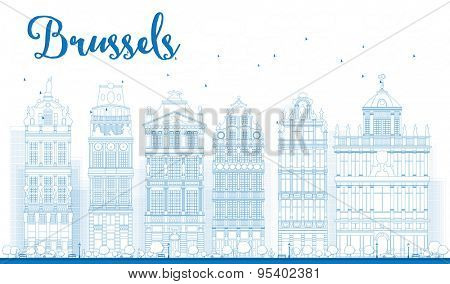 Outline Brussels skyline with Ornate buildings of Grand Place