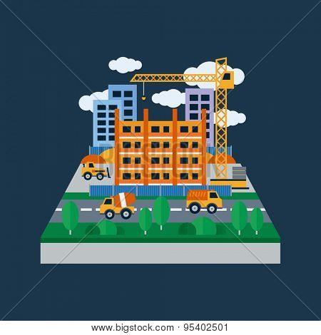 Concept illustration with icons of building construction and construction machinery. Flat design vector