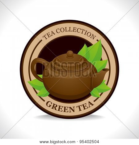 Green tea label with brown teapot