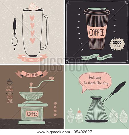 Coffee cards - Hand drawn style. Vector illustration.