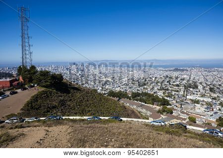 Panoramic view of San Francisco taken from Twin Peaks