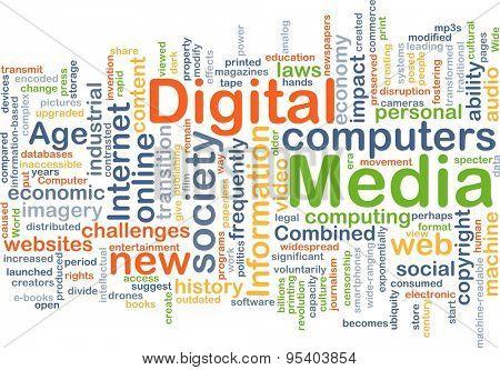 Background concept wordcloud illustration of digital media