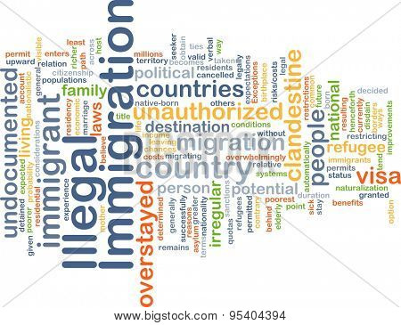 Background concept wordcloud illustration of illegal immigration