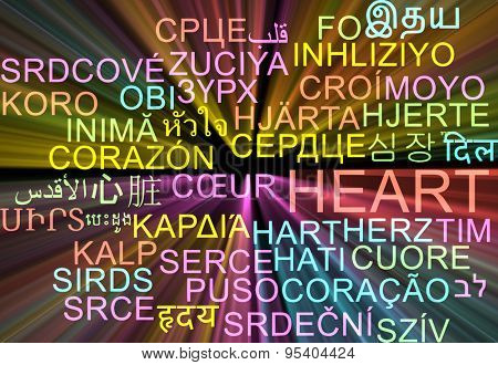 Background concept wordcloud multilanguage international many language illustration of heart glowing light