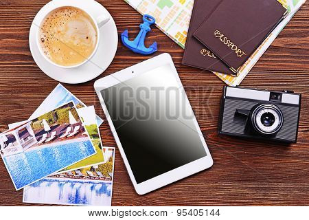 Preparing for travel,reservation ticket close-up