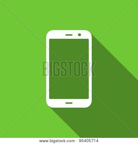 smartphone flat icon phone sign original modern design green flat icon for web and mobile app with long shadow