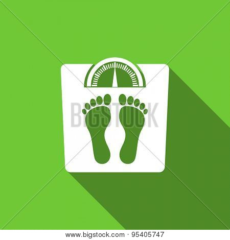 weight flat icon  original modern design green flat icon for web and mobile app with long shadow