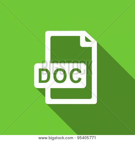 doc file flat icon  original modern design green flat icon for web and mobile app with long shadow