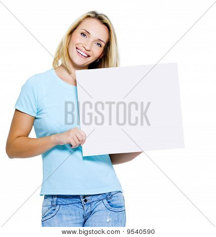 Happy Woman With White Banner