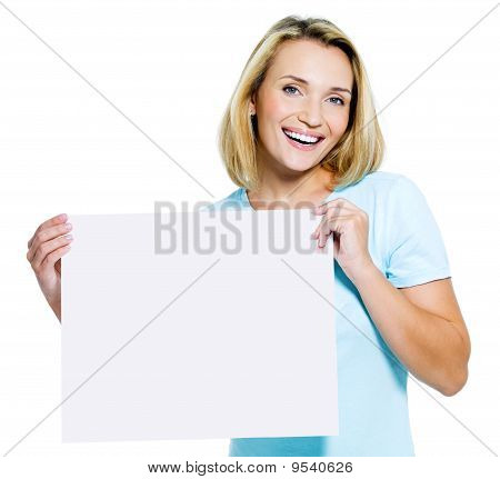 Woman Holds The White  Blank Card