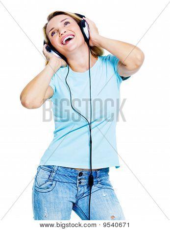 Happy Dancing Woman With Headphones