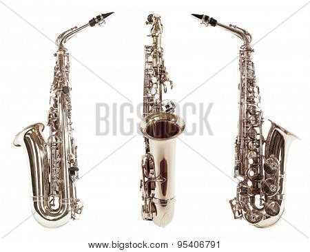 Saxophones isolated on white