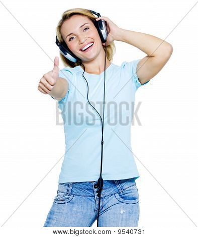 Woman With Headphones Showing  Thumbs-up