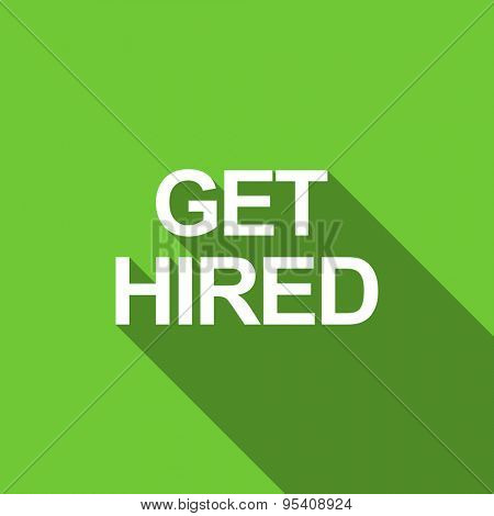 get hired flat icon  original modern design green flat icon for web and mobile app with long shadow