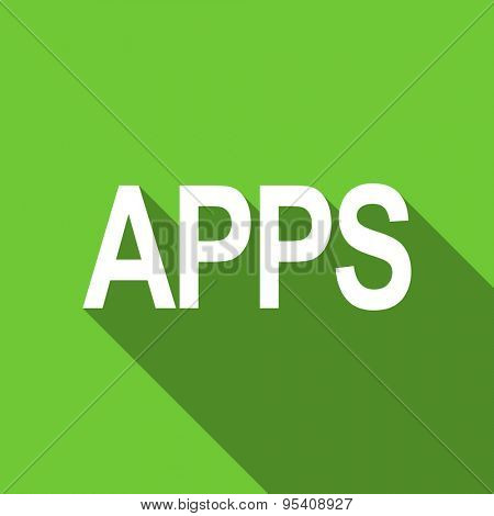 apps flat icon  original modern design green flat icon for web and mobile app with long shadow