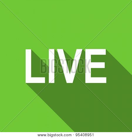 live flat icon  original modern design green flat icon for web and mobile app with long shadow