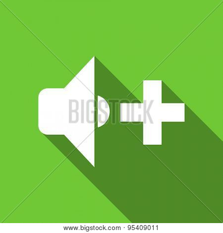 speaker volume flat icon music sign original modern design green flat icon for web and mobile app with long shadow
