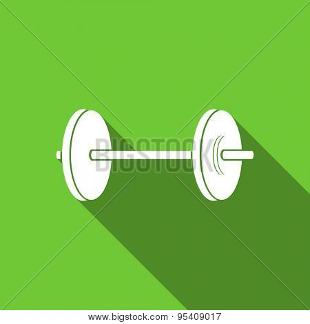 fitness flat icon  original modern design green flat icon for web and mobile app with long shadow