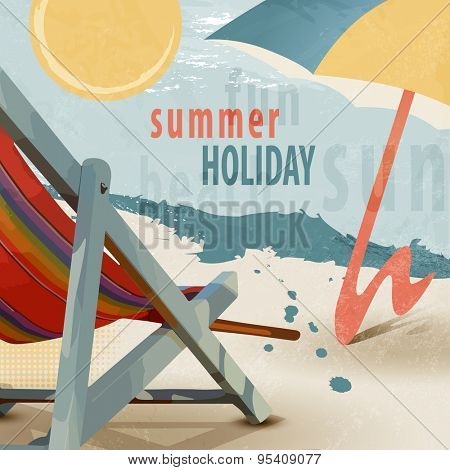 Summer holiday beach background with deck chair and sunshade in retro style - tourism concept