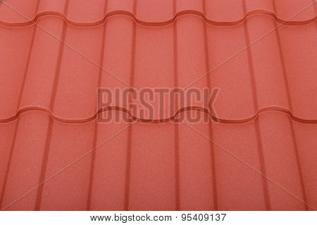 Close up of fake terracotta roof tiles